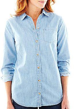 Liz Claiborne Long-Sleeve Chambray Shirt