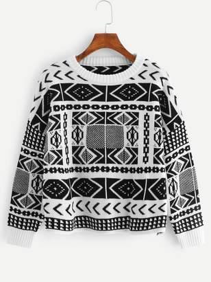 Shein Plus Two Tone Geo Sweater