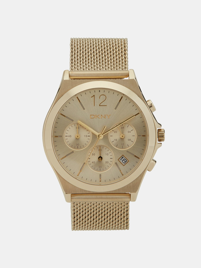 DKNY Parsons Stainless Steel Gold-Tone Mesh Chrono Watch