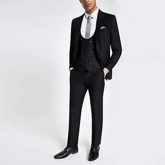 Mens Black double breasted suit waistcoat