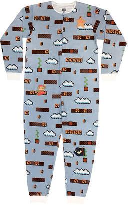 Nintendo Mens Fleece One Piece Pajama Long Sleeve