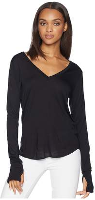 LnA Drapey Modal Long Sleeve V-Neck Women's Long Sleeve Pullover