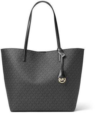 MICHAEL Michael Kors Hayley Large East-West Logo-Print Tote Bag, Black/Gray $248 thestylecure.com