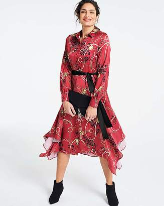 Fashion World Chain Print Hanky Hem Shirt Dress