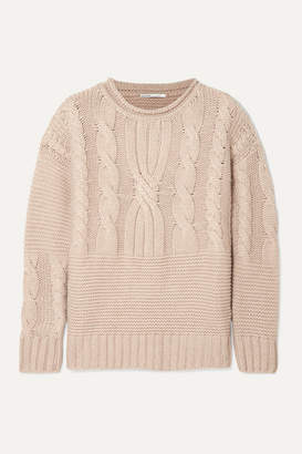 Agnona Ribbed Cable-knit Cashmere Sweater - Beige