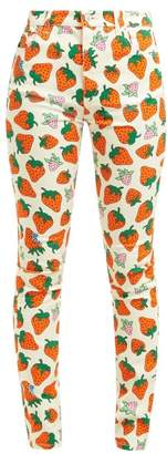 Gucci Strawberry Print Stretch Denim Jeans - Womens - Red Print