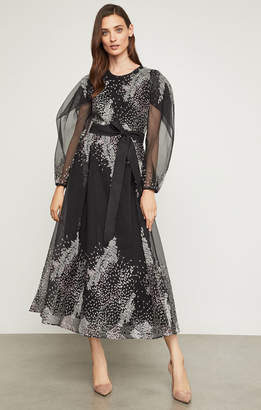 BCBGMAXAZRIA Embroidered Organza Midi Dress