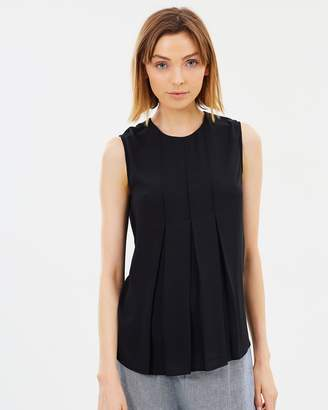 Warehouse Sleeveless Box Pleat Top