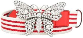 Gucci striped butterfly belt