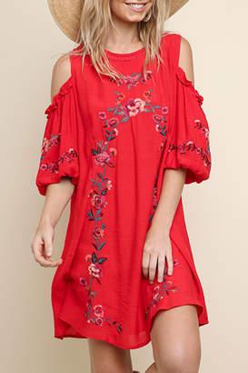 Umgee USA Embroidered Cold-Shoulder Dress
