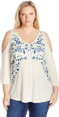 Lucky Brand Women's Plus Size Embroidred Peasant Top