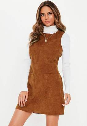 Missguided Tan Cord Sleeveless Shift Dress