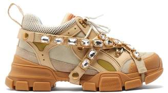 Gucci Flashtrek Crystal Embellished Low Top Trainers - Womens - Beige