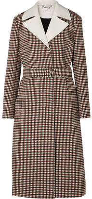 Chloé Belted Checked Wool-blend Coat - Beige