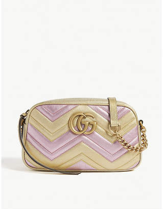 Gucci Women's Gold and Pink Zigzag GG Marmont Metallic Quilted Leather Shoulder Bag