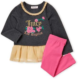Juicy Couture Girls 4-6x) Two-Piece Rose Tutu Tunic & Leggings Set