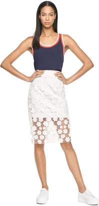 Milly Floral Applique Classic Midi Skirt