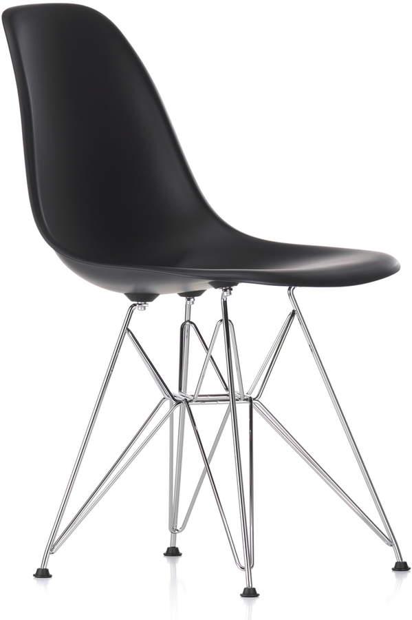 Eames Plastic Side Chair DSR (H 43 cm), verchromt / basic dark, Kunststoffgleiter basic dark (Teppichboden)