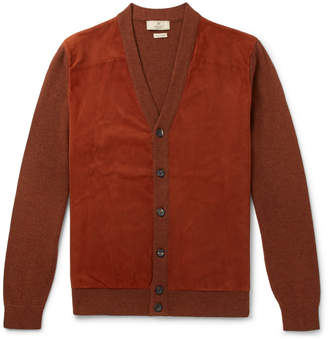 Hackett Slim-Fit Suede-Panelled Merino Wool Cardigan