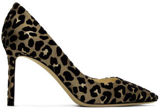 Jimmy Choo Tan and Black Flocked Leopard Romy 85 Heels
