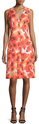 Carmen Marc Valvo Sleeveless Floral-Print Pleated Dress $485 thestylecure.com