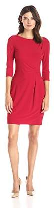 Lark & Ro Women's Three Quarter Sleeve Ruched Jersey Sheath Dress