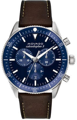 Movado Men's Diver Chronograph Watch with Leather Strap & Blue Dial