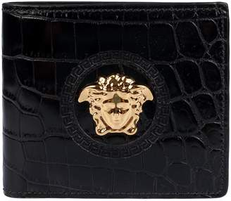 Versace Crocodile Skinned Bifold Wallet