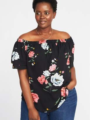 Old Navy Off-the-Shoulder Plus-Size Ruffle-Sleeve Swing Top