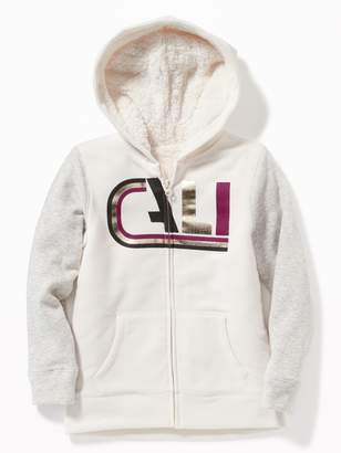 Old Navy Graphic Sherpa-Lined Zip Hoodie for Girls