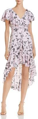 Aidan Mattox High/Low Ruffled Chiffon Dress