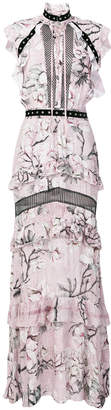 Just Cavalli magnolia print long dress