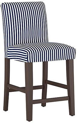 One Kings Lane Shannon Counter Stool - Navy Stripe Linen