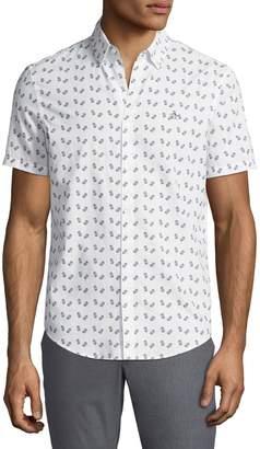 Original Penguin Men's Milk-Carton Short-Sleeve Button-Front Cotton Shirt