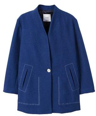 MANGO Contrast seam coat