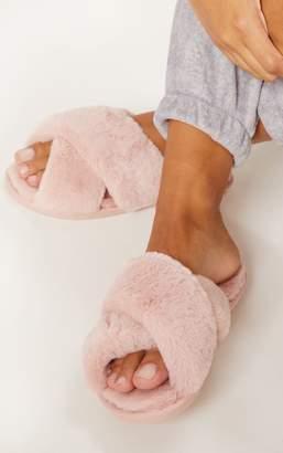 PrettyLittleThing Pink Fluffy Cross Strap Slipper