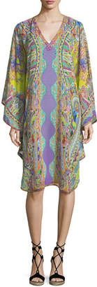 Etro V-Neck Long-Sleeve Printed Silk Caftan Coverup