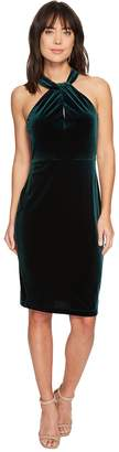 Taylor Crisscross Keyhole Neck Velvet Dress Women's Dress