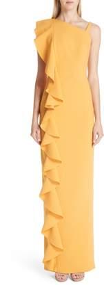 Rachel Gilbert Farrah Side Ruffle Gown