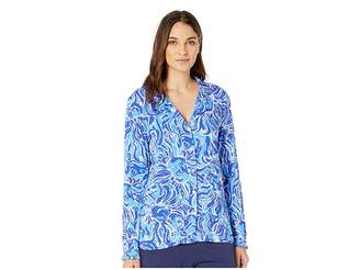 Lilly Pulitzer Ruffle PJ Button-Up Top