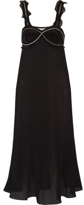 3.1 Phillip Lim - Zip-embellished Plissé-georgette Dress - Black $895 thestylecure.com
