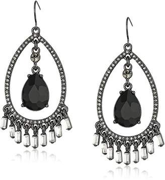 "Carolee Midnight Tower"" Open Tear Drop Pave Drop Earrings"