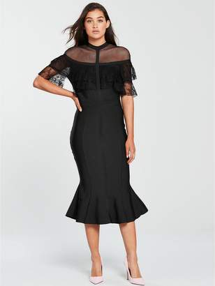 Forever Unique Bandage Cape Bodycon Midi Dress - Black