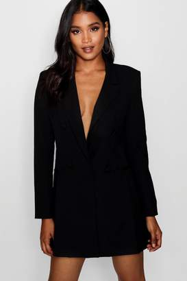 boohoo Double Breasted Power Shoulder Dress