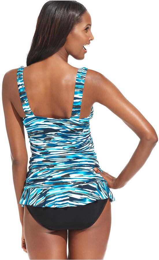 Swim Solutions Swimsuit, Tummy-Control Printed Ruffle Tankini Top