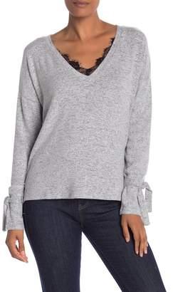 Vero Moda Lace Trim Melange Knit Sweater