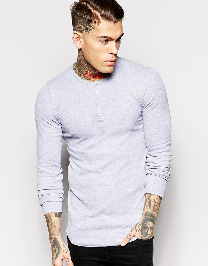 American Apparel Henley Top - Grey