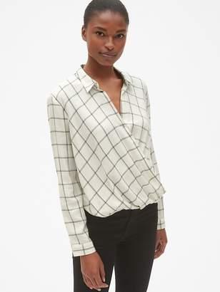 Gap Plaid Wrap-Front Shirt