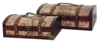 Vintiquewise Old World Map Treasure Chest - Set of 2