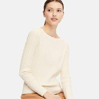 Uniqlo Women's Cotton Cashmere Cable Boat Neck Sweater